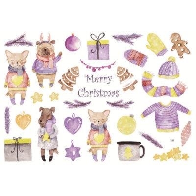 Håndmalte klistremerker Lilla jul