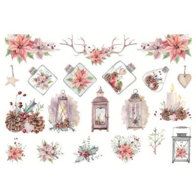 Håndmalte klistremerker Juleblomster