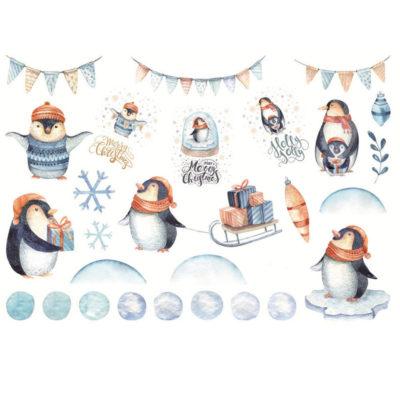 Håndmalte klistremerker Pingvin