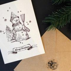 Julekort m/konvolutt doble Snømann