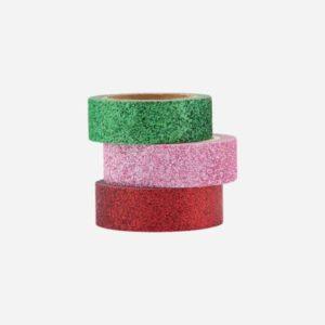 Washi tape GLITTERY rød, rosa og grønn