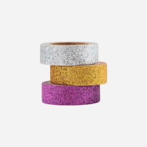 Washi tape GLITTERY rosa, gull og sølv