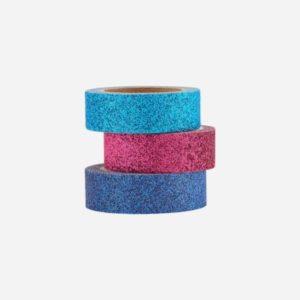 Washi tape GLITTERY blå, lilla og turiks