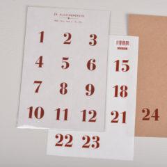 Klistremerke 1-24 · Transparent/Rød