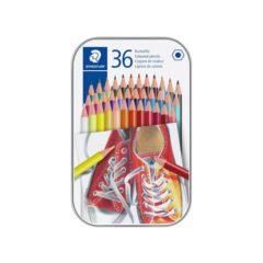 STAEDTLER Sekskantede fargeblyanter i metal eske (36)